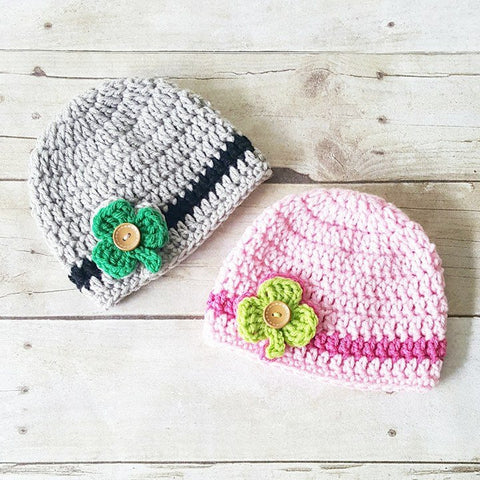 Crochet St. Patrick's Day Shamrock Beanie Hat St. Patty's Day Infant Newborn Baby Toddler Child Adult Handmade Photography Photo Prop Baby Shower Gift Present