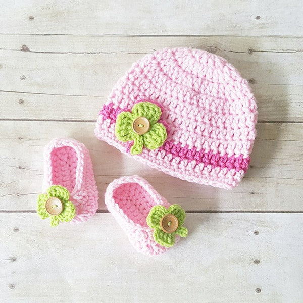 Crochet Baby Shamrock Beanie Hat Shoes Slippers Booties Set St. Patrick's Day St. Patty's Day Infant Newborn Baby Handmade Photography Photo Prop Baby Shower Gift Present - Red Lollipop Boutique