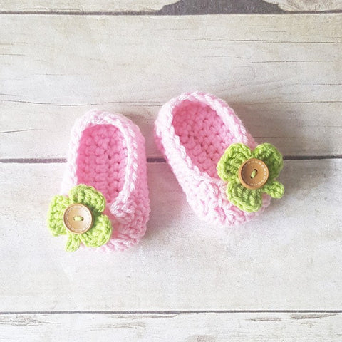 Crochet Baby Shamrock Shoes Booties Slippers St. Patrick's Day St. Patty's Day Handmade Photography Photo Prop Baby Shower Gift Present - Red Lollipop Boutique