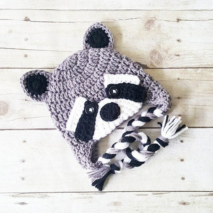 Crochet Raccoon Beanie Hat Infant Newborn Baby Toddler Child Adult Handmade Photography Photo Prop Baby Shower Gift Present