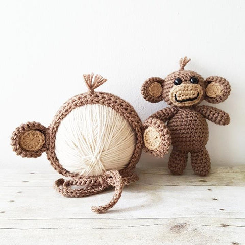 Crochet Baby Monkey Bonnet Hat Beanie Stuffie Stuffed Animal Set Infant Newborn Baby Toddler Handmade Photography Photo Prop Baby Shower Gift Present