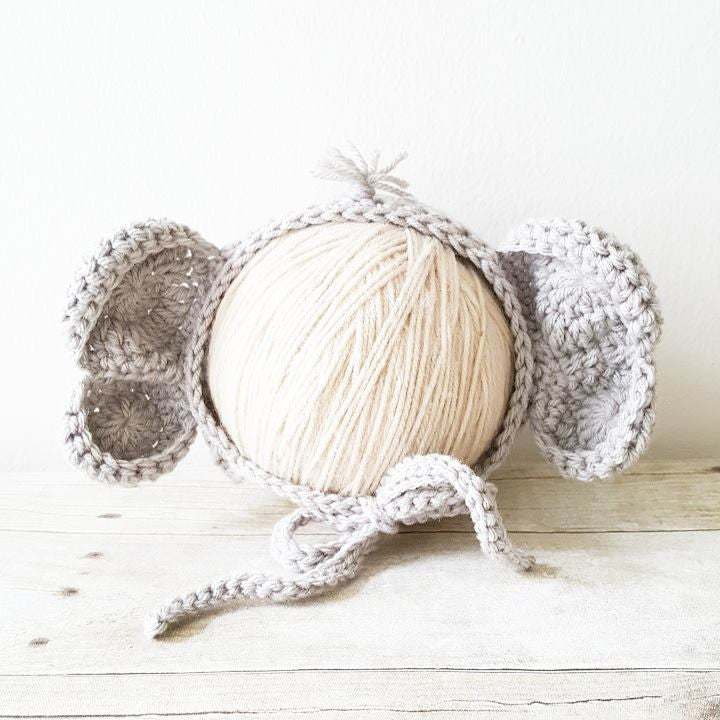 Crochet Baby Elephant Bonnet Hat Beanie Infant Newborn Baby Handmade Photography Photo Prop Handmade Baby Shower Gift Present