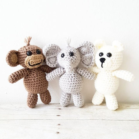 Crochet Baby Stuffie Stuffed Animal Set Elephant Monkey Bear Infant Newborn Baby Photography Photo Prop Handmade Baby Shower Gift Present Nursery Decor