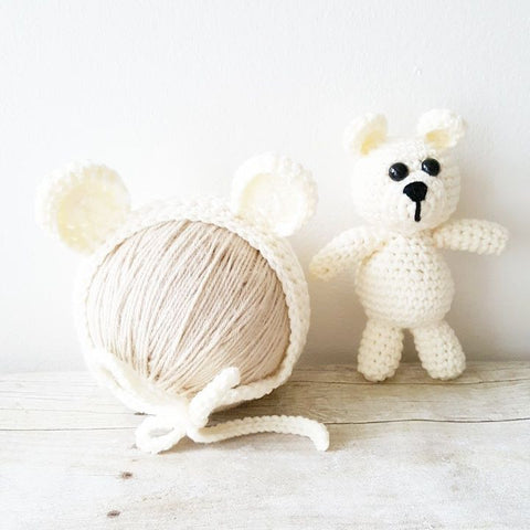 Crochet Baby Bear Bonnet Hat Beanie Stuffie Stuffed Animal Set Infant Newborn Baby Toddler Handmade Photography Photo Prop Baby Shower Gift Present