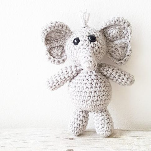 Crochet Baby Elephant Stuffie Stuffed Animal Infant Newborn Baby Photography Photo Prop Handmade Baby Shower Gift Present Nursery Decor - Red Lollipop Boutique