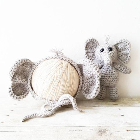 Crochet Baby Elephant Bonnet Hat Beanie Stuffie Stuffed Animal Set Infant Newborn Baby Toddler Handmade Photography Photo Prop Baby Shower Gift Present