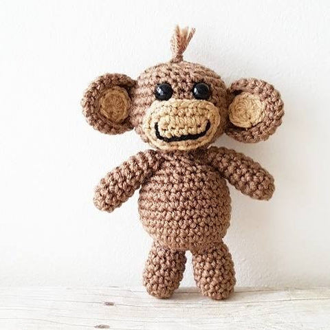 Crochet Baby Monkey Stuffie Stuffed Animal Infant Newborn Baby Photography Photo Prop Handmade Baby Shower Gift Present Nursery Decor - Red Lollipop Boutique
