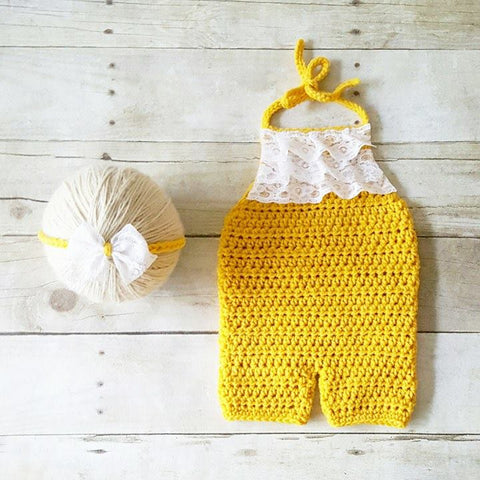 Crochet Baby Lace Romper Onesie Jumpsuit Bow Headband Set Infant Newborn Baby Toddler Handmade Photography Photo Prop Baby Shower Gift Present