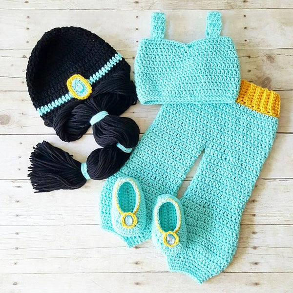 Crochet Baby Princess Jasmine Pants Top Shirt Hat Beanie Headband Shoes Set Newborn Infant Baby Handmade Costume Dress Up Photography Photo Prop Baby Shower Gift Present