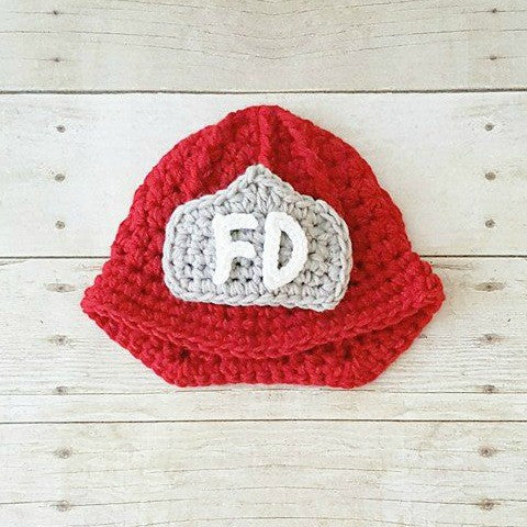 Crochet Baby Fireman Firefighter Set Hat Helmet Beanie Diaper Cover Overalls Infant Baby Newborn Photography Photo Prop Shower Gift Present - Red Lollipop Boutique