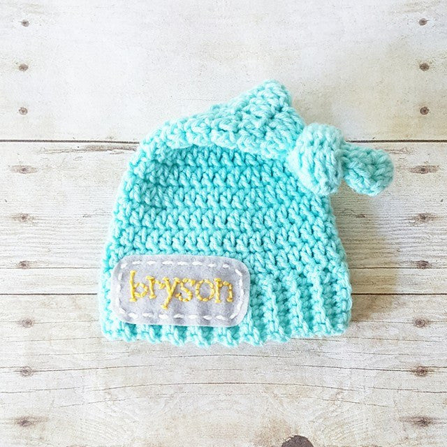 Crochet Personalized Name Beanie Hat Top Knot Newsboy Custom Customized Infant Newborn Baby Toddler Child Handmade Photography Photo Prop Baby Shower Gift Present