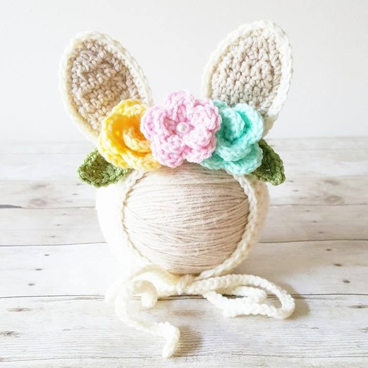 Crochet Baby Bunny Rabbit Flower Bonnet Hat Beanie Infant Newborn Baby Easter Spring Handmade Photography Photo Prop Baby Shower Gift Present - Red Lollipop Boutique