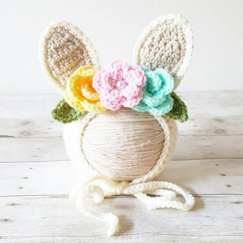 Crochet Baby Bunny Rabbit Flower Bonnet Hat Beanie Infant Newborn Baby Easter Spring Handmade Photography Photo Prop Baby Shower Gift Present
