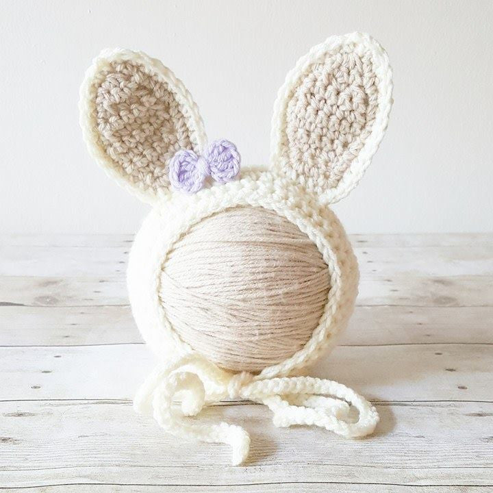 Crochet Baby Bunny Rabbit Bow Bonnet Hat Beanie Infant Newborn Baby Easter Spring Handmade Photography Photo Prop Baby Shower Gift Present - Red Lollipop Boutique