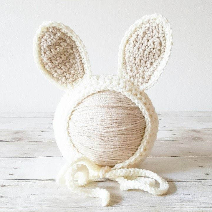 Crochet Baby Bunny Rabbit Bonnet Hat Beanie Infant Newborn Baby Easter Spring Handmade Photography Photo Prop Baby Shower Gift Present - Red Lollipop Boutique