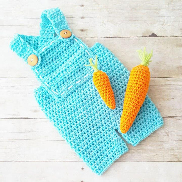 Crochet Baby Carrot Farmer Overalls Pants Shorts set Bunny Easter Spring Infant Newborn Baby Handmade Photography Photo Prop Baby Shower Gift Present - Red Lollipop Boutique