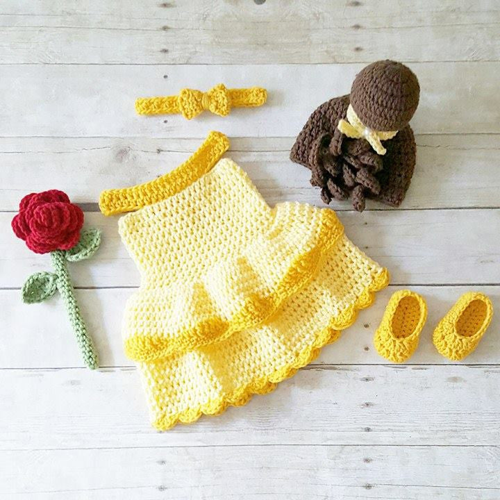 Crochet Baby Belle Beauty And The Beast Infant Newborn Baby Dress Beanie  Hat Shoes Rose Set