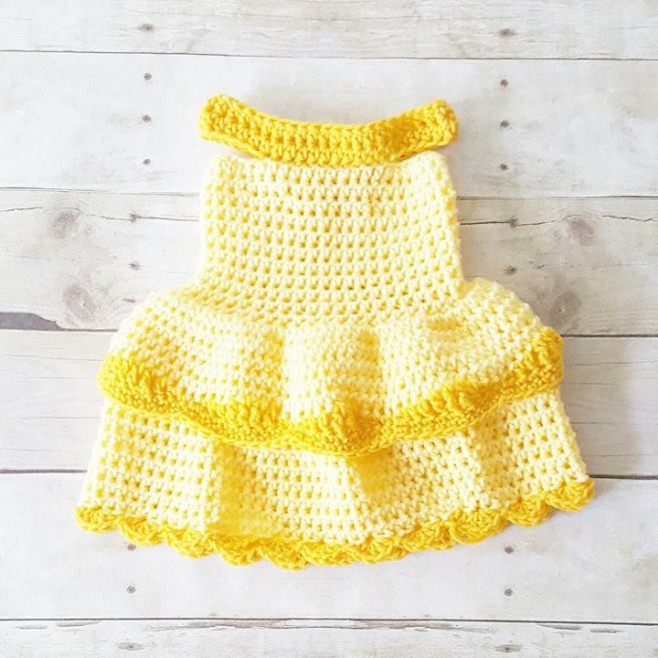 Crochet Baby Belle Beauty and the Beast Infant Newborn Baby Dress Handmade Photography Photo Prop Baby Shower Gift Present - Red Lollipop Boutique