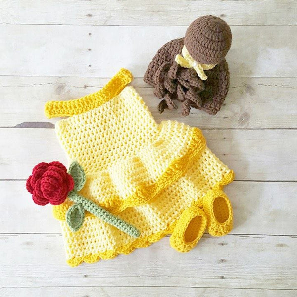 Crochet Baby Belle Beauty and the Beast Infant Newborn Baby Dress Beanie Hat Shoes Rose Set Handmade Photography Photo Prop Baby Shower Gift Present