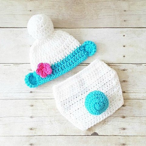 Crochet Baby Smurfs Hat Beanie Diaper Cover Set Infant Newborn Baby Photography Photo Prop Baby Shower Gift Present Cartoon Character