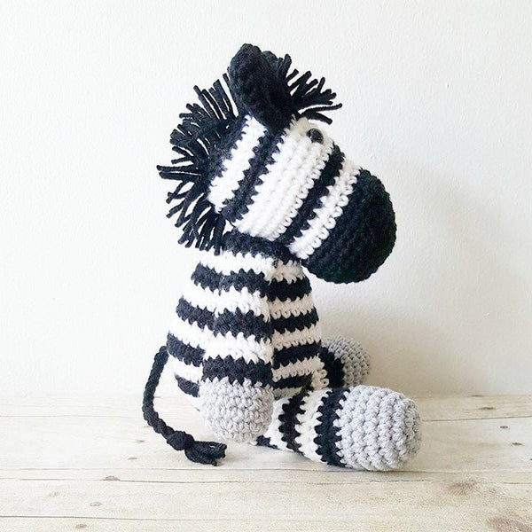 Crochet Zebra Stuffed Animal Stuffie Toy Infant Baby Toddler Handmade Nursery Decor Decorations Photography Photo Prop Baby Shower Gift Present Horse Pony Unicorn