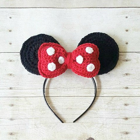 Minnie Mouse Ears Headband Crochet Bow Polka Dots Toddler Girl Child Adult Woman Custom Customized Handmade Disney Princess Character