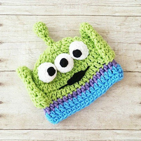 Crochet Baby Alien Hat Beanie Toy Story Buzz Lightyear Woody Jessie Newborn Baby Infant Handmade Photography Photo Prop Baby Shower Gift - Red Lollipop Boutique