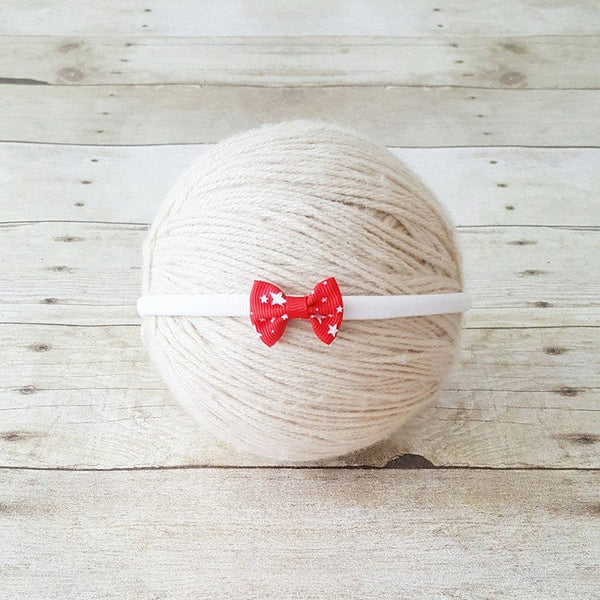 Baby 4th of July Headband Bow Nylon Red White Blue Stars One Size Fits All Newborn Baby Infant Toddler Child Adult Photography Photo Prop - Red Lollipop Boutique