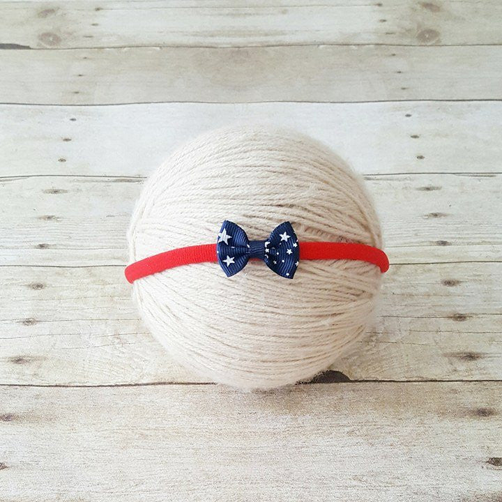 Baby 4th of July Headband Bow Nylon Red White Blue Stars One Size Fits All Newborn Baby Infant Toddler Child Adult Photography Photo Prop