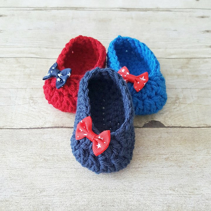 Crochet Baby 4th of July Shoes Slippers Booties Star Bow Red Navy Royal Blue Independence Day American Flag Baby Shower Gift Photo Prop - Red Lollipop Boutique