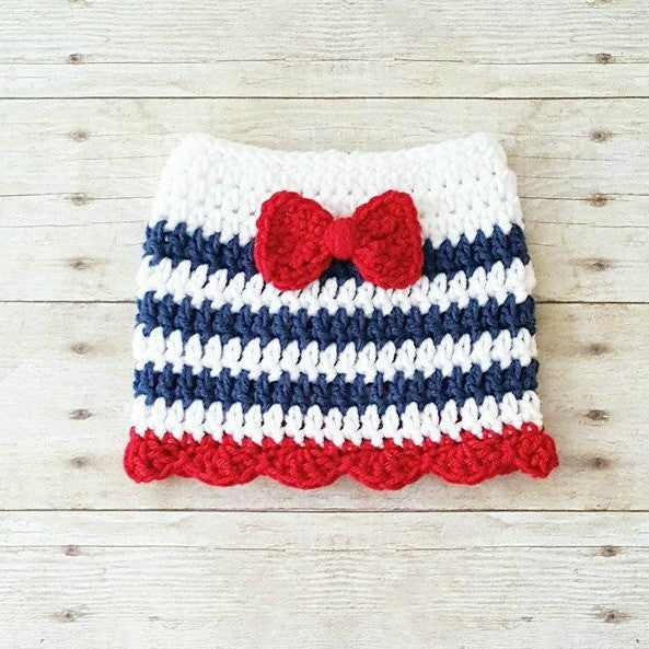Crochet Baby Bow Skirt Dress Infant Newborn Photography Photo Prop 4th of July Independence Day Military American Flag Baby Shower Gift