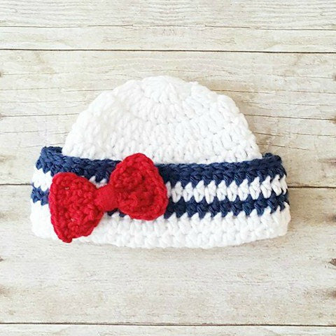 Crochet Baby Sailor Hat Bow Beanie Infant Newborn Toddler Child Photo Prop 4th of July Independence Day Military American Flag Shower Gift