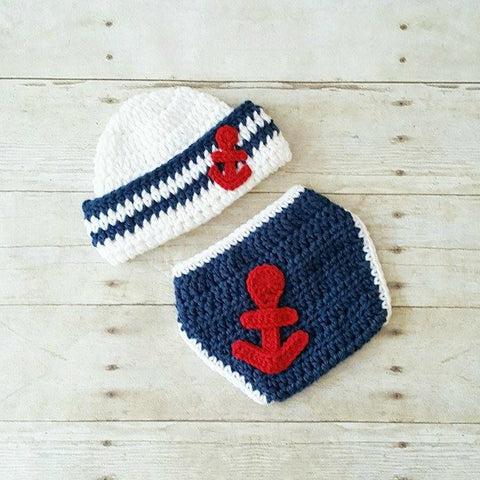 Crochet Baby Sailor Hat Anchor Beanie Diaper Set Infant Newborn Photography Photo Prop 4th of July Independence Day Military American Flag