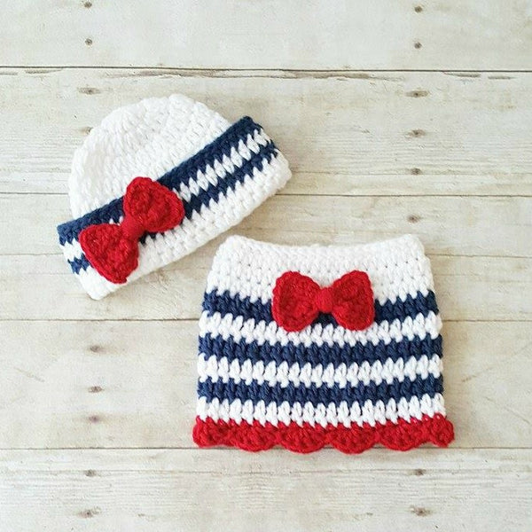 Crochet Baby Sailor Hat Bow Beanie Skirt Set Infant Newborn Photography Photo Prop 4th of July Independence Day Military American Flag Gift - Red Lollipop Boutique