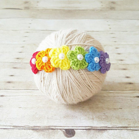 Rainbow Baby Headband Crochet Flowers Nylon Headband Infant Newborn Baby Toddler Child Adult Photography Photo Prop Baby Shower Gift Present