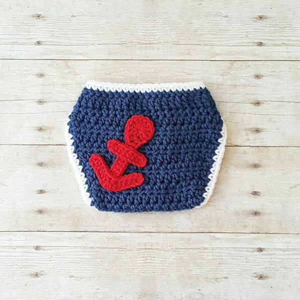 Crochet Baby Sailor Hat Anchor Beanie Diaper Set Infant Newborn Photography Photo Prop 4th of July Independence Day Military American Flag - Red Lollipop Boutique