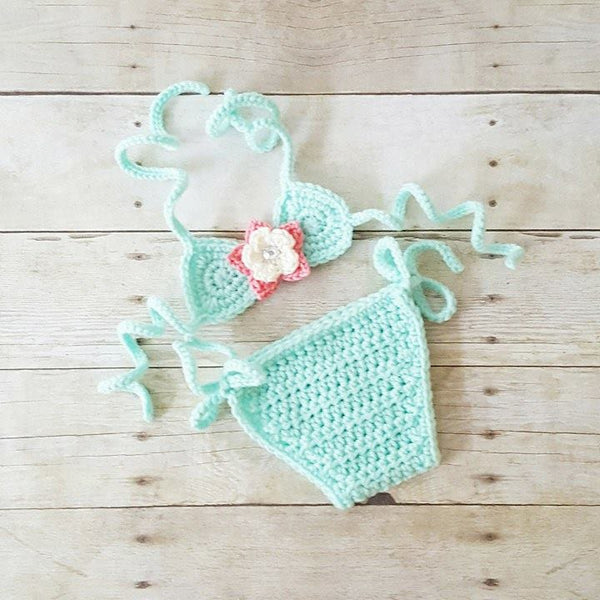 Crochet Baby Bikini Bathing Swim Suit Flower Spring Summer Accessory Handmade Infant Newborn Baby Toddler Photography Photo Prop Shower Gift
