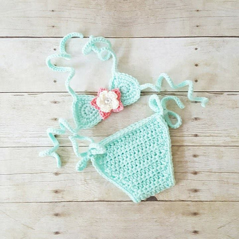 Crochet Baby Bikini Bathing Swim Suit Flower Spring Summer Accessory Handmade Infant Newborn Baby Toddler Photography Photo Prop Shower Gift - Red Lollipop Boutique