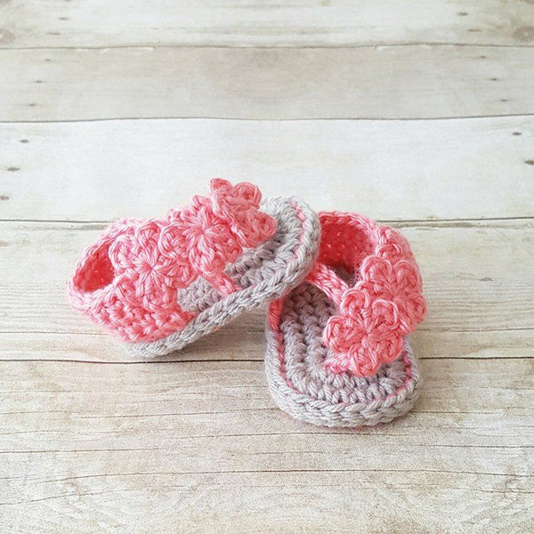 Crochet Baby Sandals Shoes Slippers Booties Flower Newborn Infant Footwear Spring Summer Clothing Accessory Handmade Gift - Red Lollipop Boutique