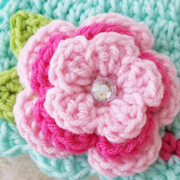 Crochet Baby Flower Beanie Hat Scalloped Leaves Spring Summer Infant Newborn Toddler Child Adult Photography Prop Baby Shower Gift Present