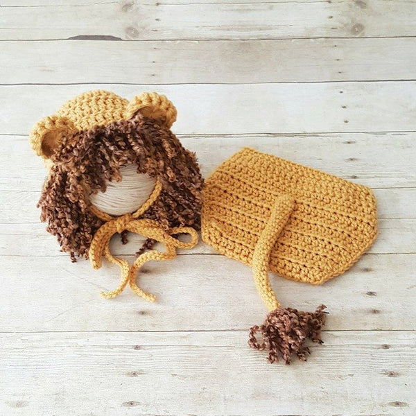 Crochet Baby Lion Bonnet Hat Beanie Diaper Cover Set Wizard of Oz Cowardly Lion Infant Newborn Photography Photo Prop Baby Shower Gift - Red Lollipop Boutique