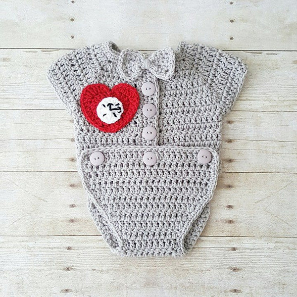 Crochet Baby Tin Man Hat Beanie Onesie Wizard of Oz Set Suit Bodysuit Shoes Boots Booties Infant Newborn Baby Photography Photo Prop Gift - Red Lollipop Boutique