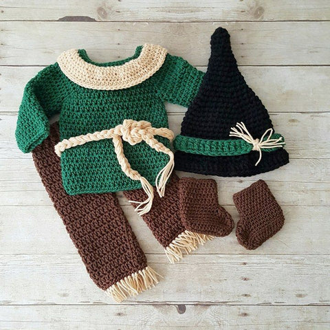 Crochet Baby Scarecrow Set Wizard of Oz Hat Pants Shirt Sweater Boots Shoes Infant Newborn Baby Photography Photo Prop Baby Shower Gift