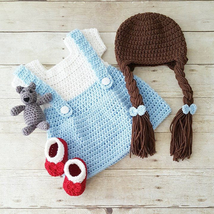 Crochet Baby Dorothy Wizard of Oz Dress Set Ruby Red Slippers Shoes Hat  Beanie Toto Infant 2ce2cea7ecbc