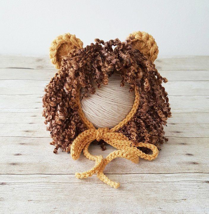 Crochet Baby Lion Bonnet Hat Beanie Wizard of Oz Cowardly Lion Infant Newborn Baby Toddler Child Photography Photo Prop Baby Shower Gift