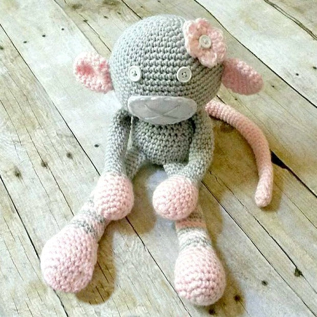 Crochet Monkey Stuffed Animal Toy Newborn Baby Infant Toddler Nursery Decor Handmade Baby Shower Gift - Red Lollipop Boutique