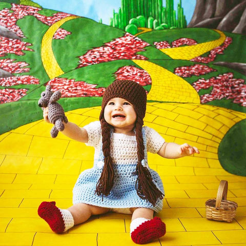 04eb19f8713 Crochet Baby Dorothy Wizard of Oz Dress Set Ruby Red Slippers Shoes Hat  Beanie Toto Infant