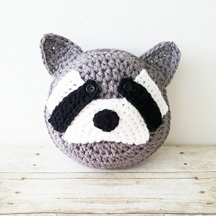 Crochet Raccoon Pillow Baby Nursery Decor Stuffed Animal Handmade Baby Bedding Home Decor Woodland Creature 8 14 or 20 Inch Baby Shower Gift
