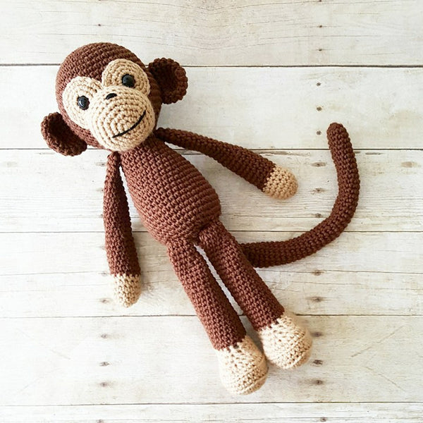 Crochet Monkey Stuffed Animal Doll Toy Handmade Infant Toddler Baby Nursery Decor Bedding Baby Shower Gift Photography Photo Prop - Red Lollipop Boutique