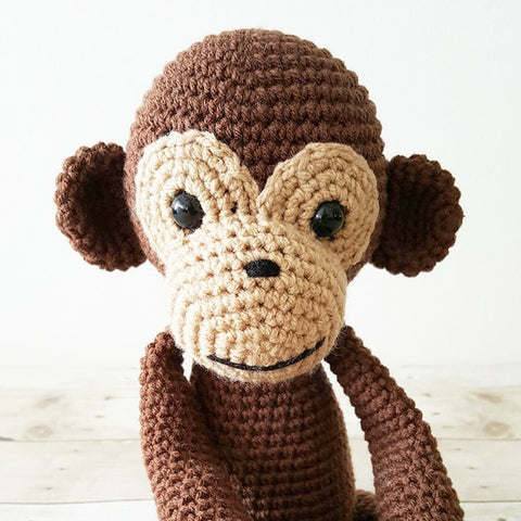 Crochet Monkey Stuffed Animal Doll Toy Handmade Infant Toddler Baby Nursery Decor Bedding Baby Shower Gift Photography Photo Prop